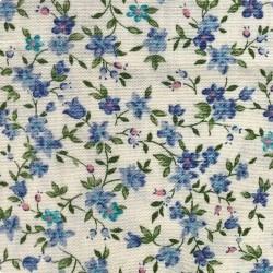 Японский бежевый принт хлопок синие «Цветы»