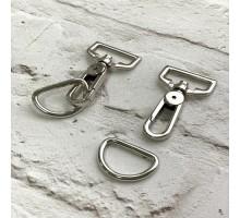 Карабин + D петля серебро 25 мм